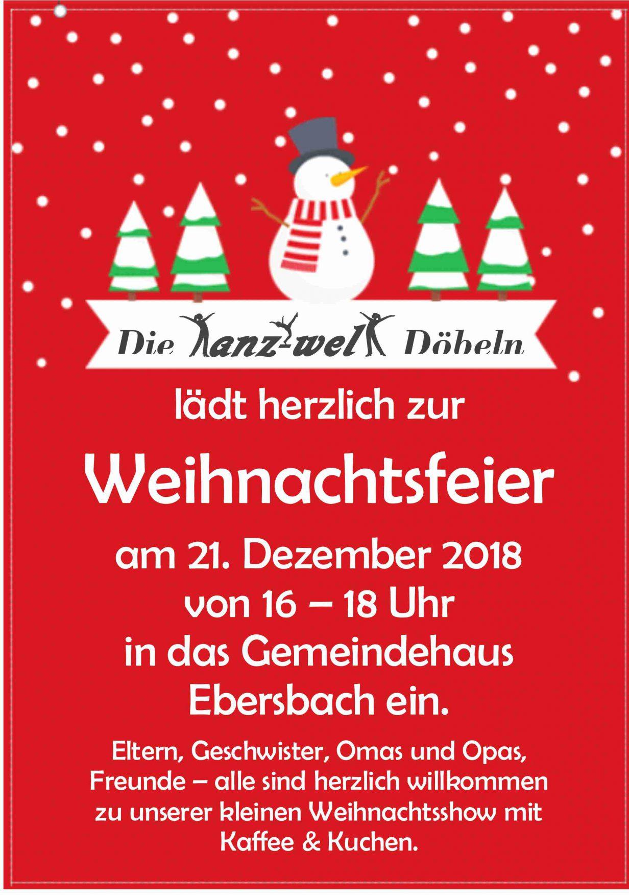 Einladung Zur Weihnachtsfeier.Einladung Zur Weihnachtsfeier 2018 Tanzwelt Dobeln